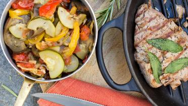 Ratatouille met gegrilde steak